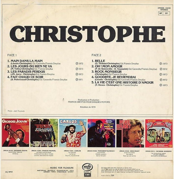 Disque Vinyle : Christophe